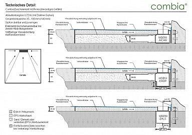Befliesbares Duschelement: Schnittzeichnung mit verschiedenen Siphons